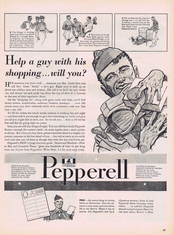 WW2 1943 Help A Soldier With His Shopping Pepperell Fabrics Original Vintage Advertisement Interesting Information