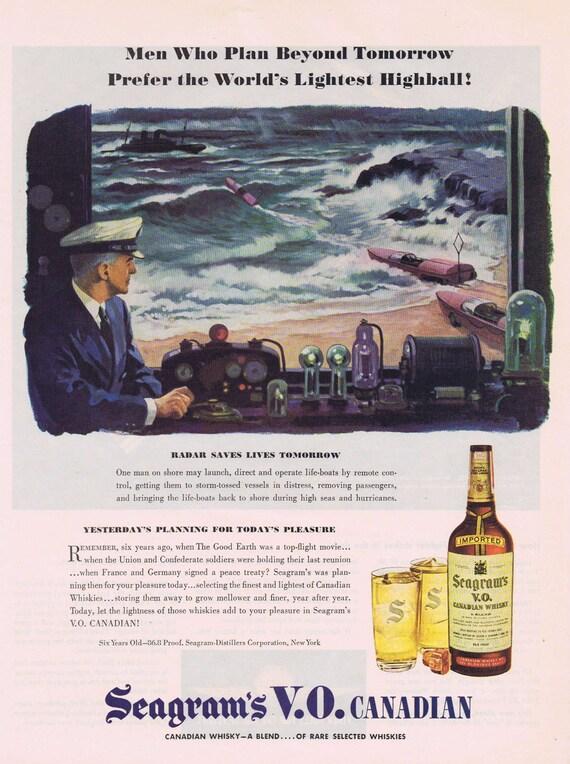 1944 Seagram's V.O. Canadian Whisky WW2 Original Vintage Ad with Radar Saving Lives