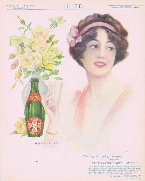 1913 Clysmic Spring Water Original Vintage Advertisement with Great Vintage Drawing of Woman by Archie Cunn