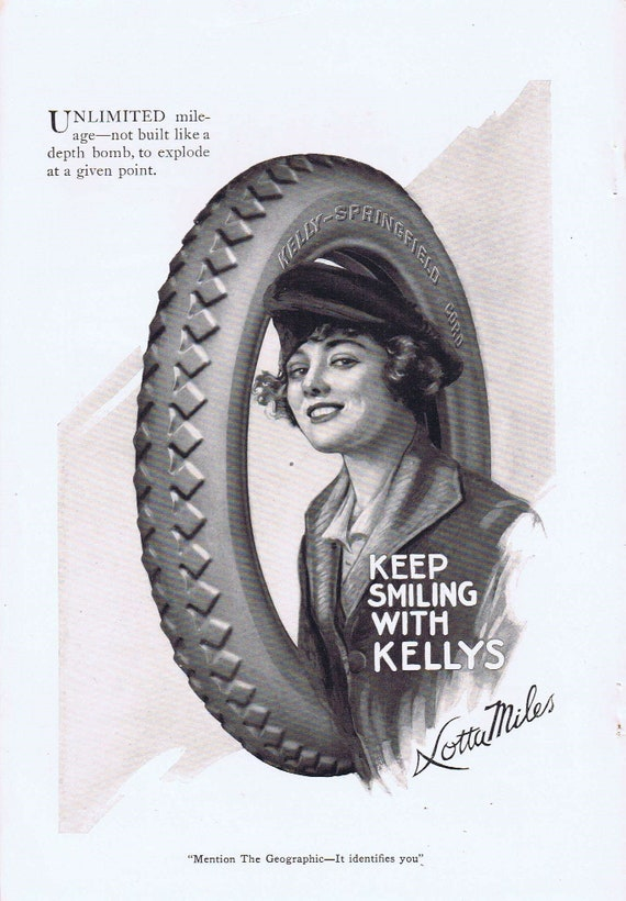 Old Time Girl Drawing by Lotta Miles in 1919 Kellys Tire Advertisement