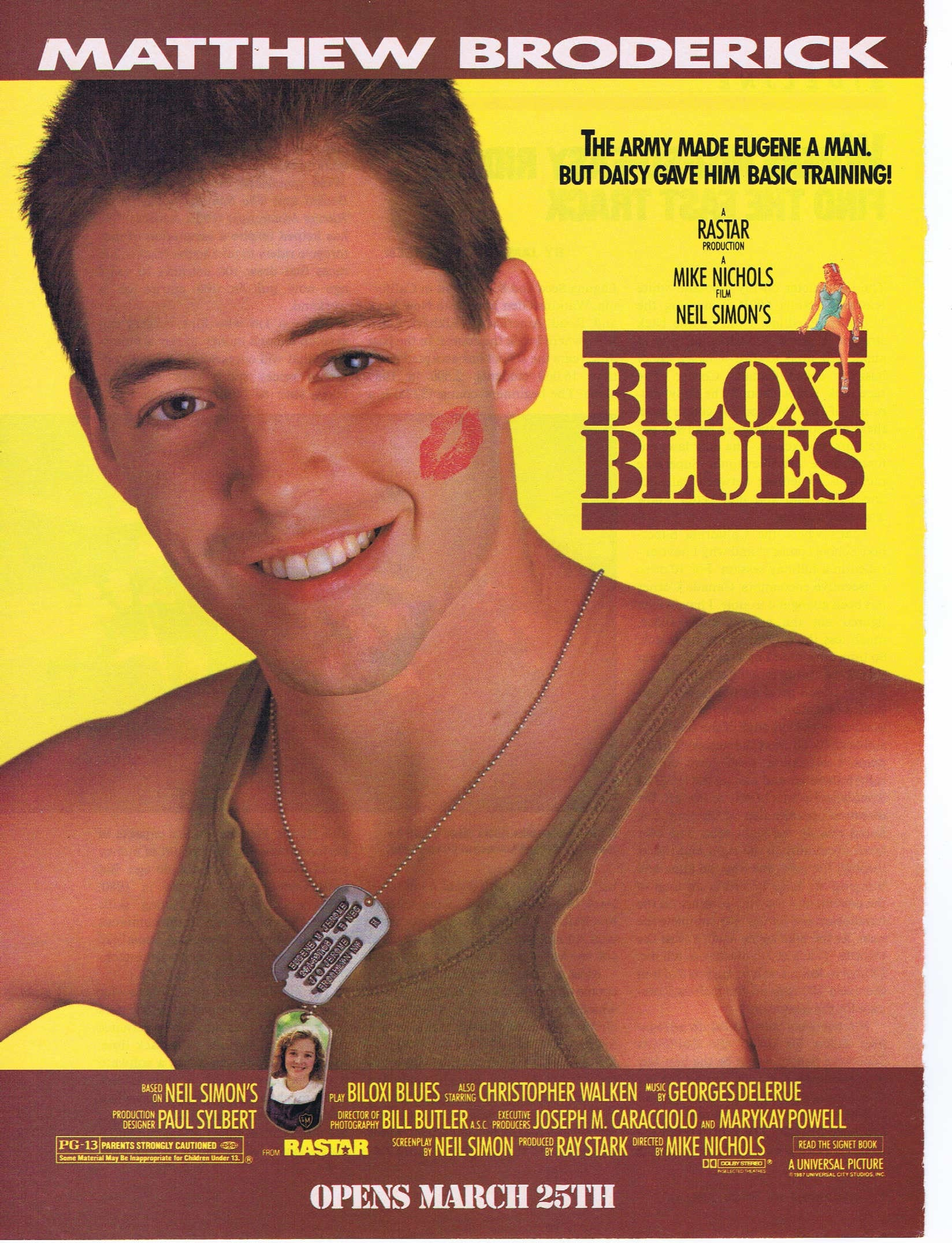 Biloxi Blues 1988 Original Movie Ad With Matthew Broderick In Neil