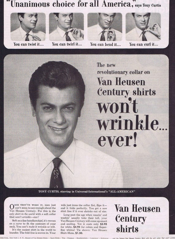"Tony Curtis 1953 Van Heusen Century Shirts Original Vintage Ad Starring in ""All-American"""