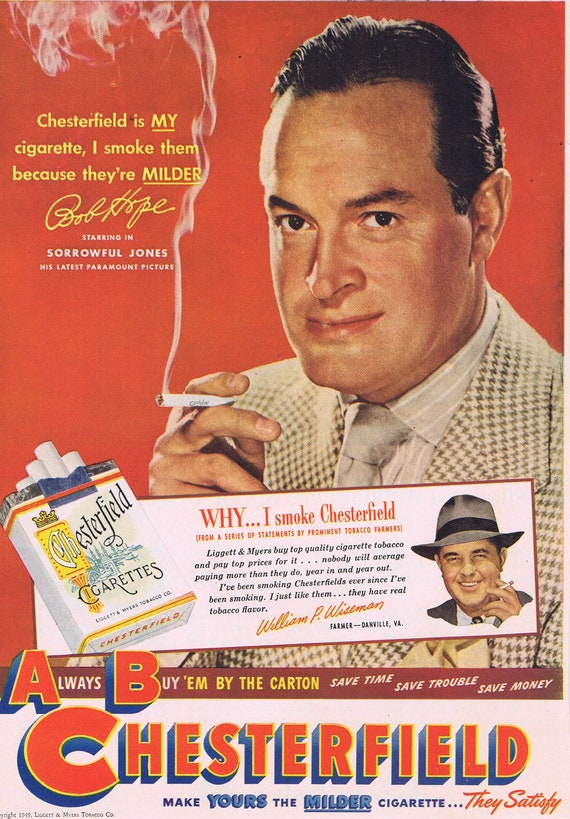 Bob Hope and Chesterfield Cigarettes 1949 Original Vintage Advertisement Starring in Sorrowful Jones Movie
