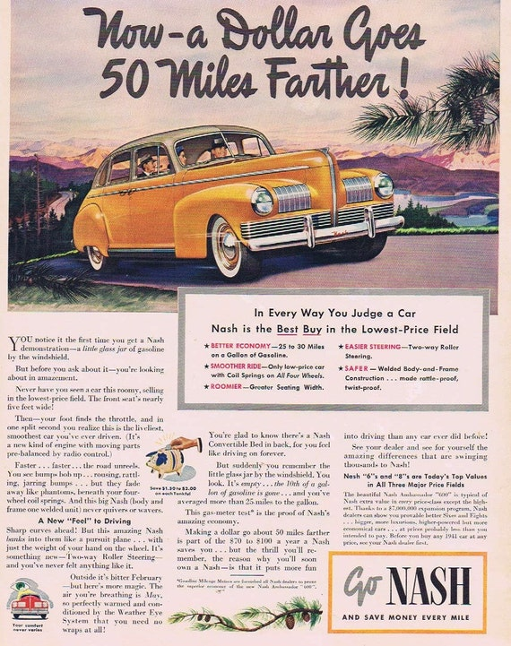 1941 Nash Automobile Original Advertisement and Save Money Every Mile