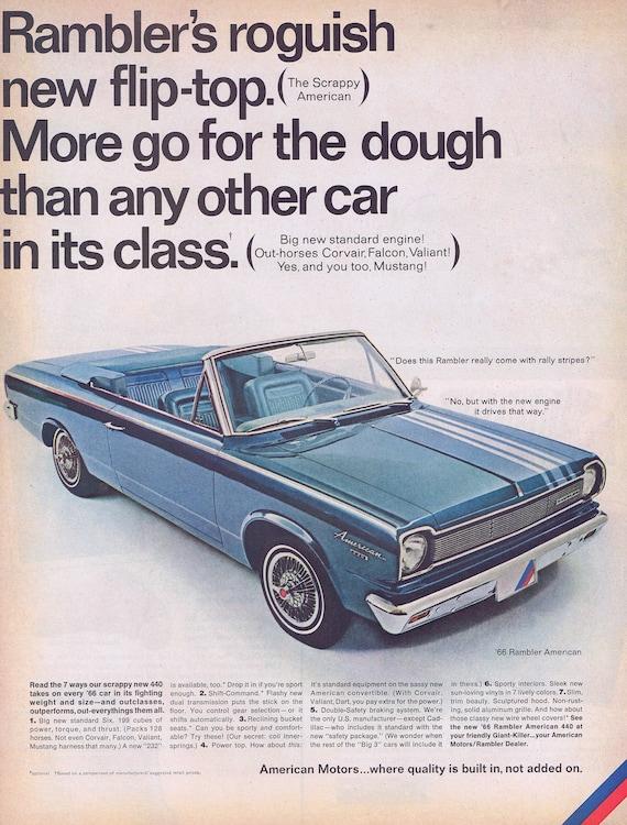 1966 Rambler American Convertible Automobile Original Vintage Advertisements