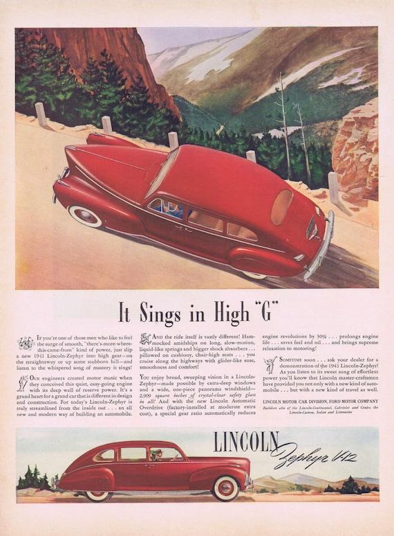 1941 Lincoln Zephyr V-12 Original Vintage Automobile Advertisement in High G