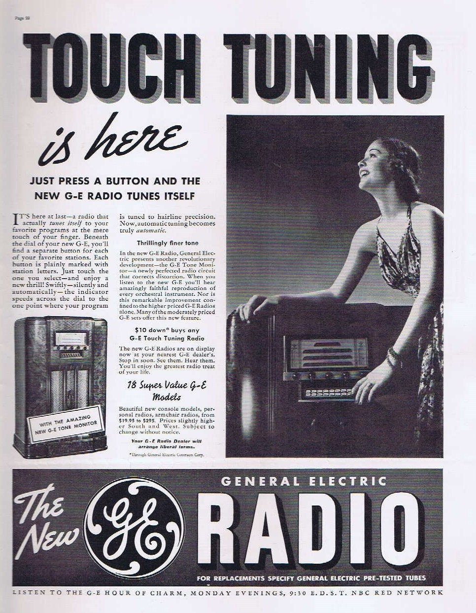 Pretty Girl and Touch Tone Radio Tuning in 1937 General