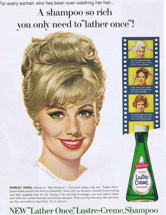 1964 Beautiful Shirley Jones Lustre-Crème Shampoo Nice Drawing by Jon Whitcomb Original Vintage Advertisement