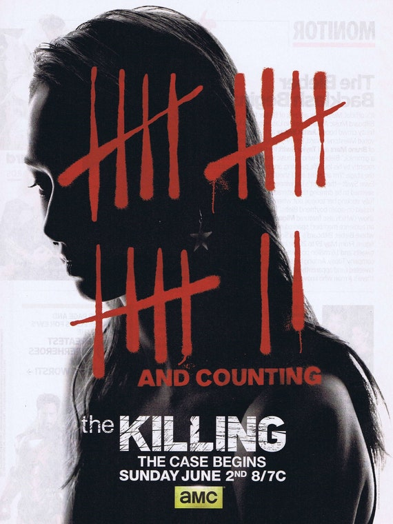 The Killing AMC Crime Drama Series with Michelle Enos 2013 New Season Advertisement Free Shipping