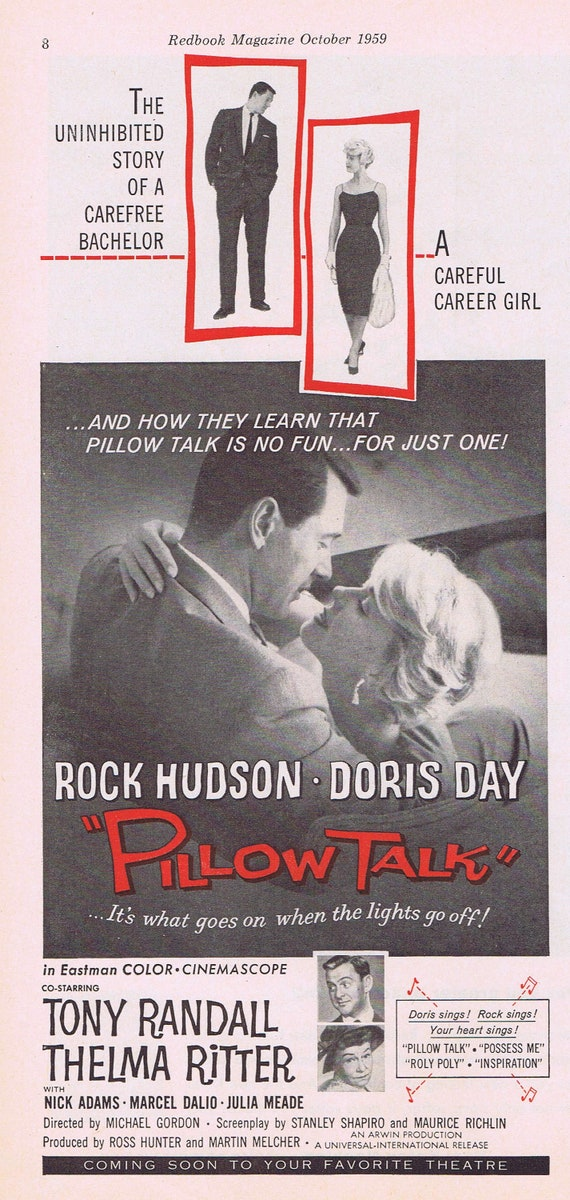 Pillow Talk 1959 Original Vintage Movie Ad with Doris Day and Rock Hudson