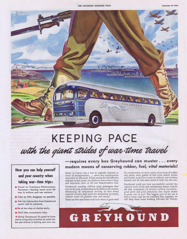 1942 Greyhound Bus WWII Wartime Original Vintage