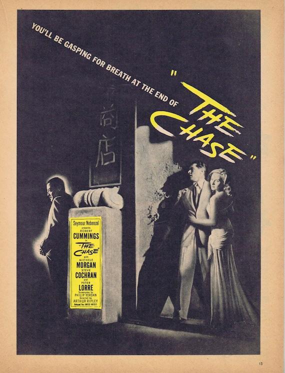 The Chase 1946 Film Noir Vintage movie ad with Robert Cummings & Michel Morgan