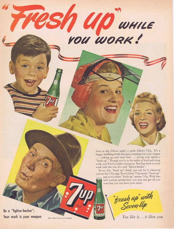 1944 7 Up Soft Drink WWII Era Original Vintage Advertisement to be a Fighter-Backer on the Home Front