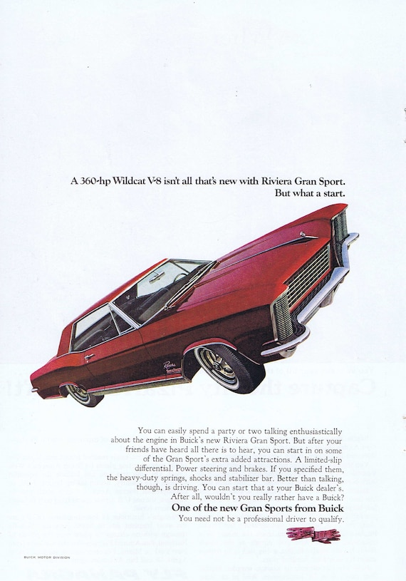 1965 Buick Rivera Gran Sport Wildcat Car or Panagra Airlines and Acropolis Original Vintage Advertisements