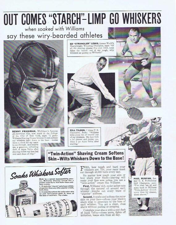 Bill Tilden, Benny Friedman, Ed Strangler Lewis and Paul Runyan 1936 Williams Aqua Velva and Saving Cream Original Ad