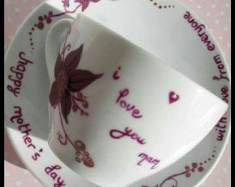 Personalised cup and saucer set, handpainted