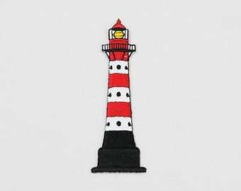 Tropical Flower Nautical Embroidered Iron On Patch Beacon Lighthouse