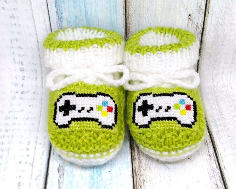 8c5c1de55d768 Gamepad knitted baby booties, unisex gamer newborn baby slippers, game  controller crib shoes, video game booties, geeky gift, mom to be