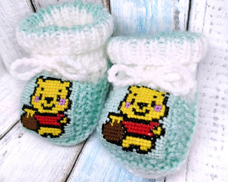 Winnie the Pooh knitted baby booties