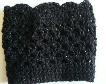 Black Sparkle Boot Cuffs