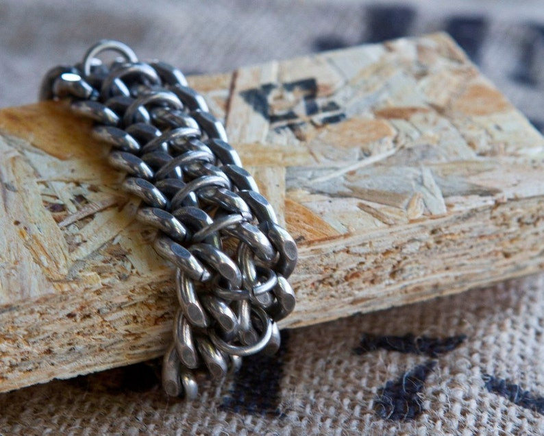 Silver bracelet wrap bracelet,oxidized silver chain,chain bracelet,link bracelet,edgy,urban,street,rock,punk,gift for her,unisex,link chain