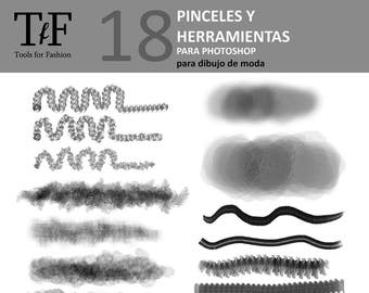 18 texture brushes for drawing of fashion.