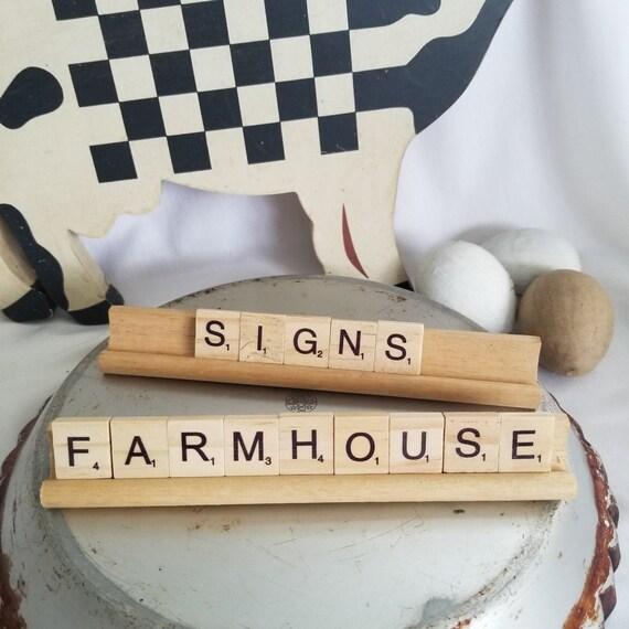 New Rustic Farmhouse White Black FARM SWEET FARM WORD BLOCK SIGN Shelf Sitter