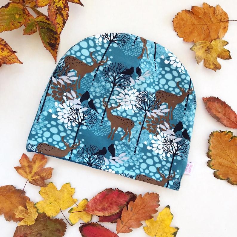 Blue Winter Beanie Child Reversible beanie Winter Forest beanie Blue Child Beanie Child Jersey hat Kids Deer Beanie Blue Deer beanie