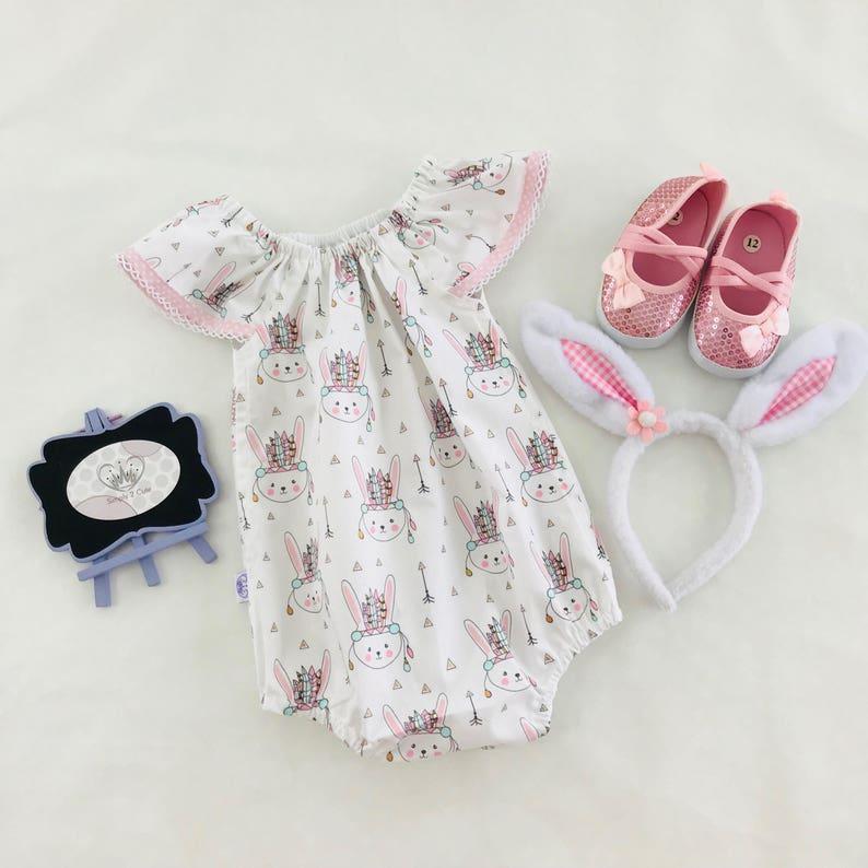 767285281 Baby Bunny Romper Baby Girl Romper Bunny Bubble Romper Girl | Etsy
