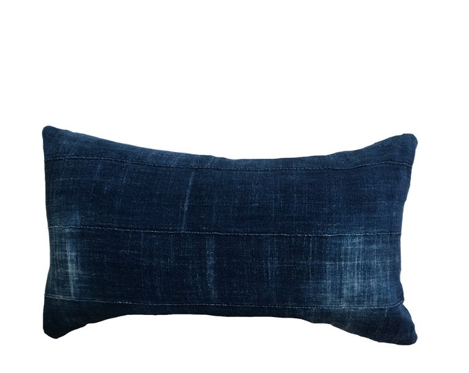 Authentic African Indigo Mud Cloth Pillow Cover, Vintage