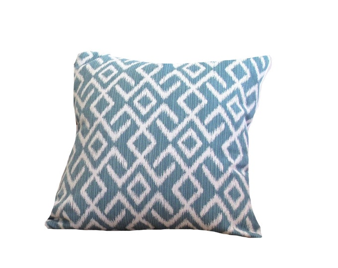 Ikat pillow cover blue and white