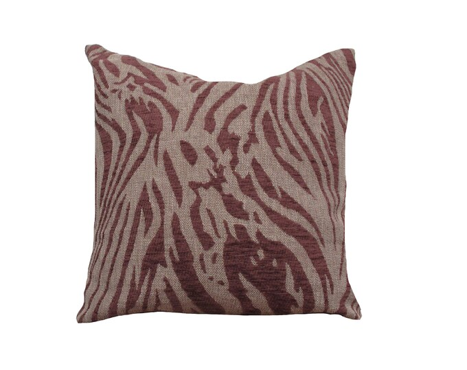 Velvet Pillow Cover, Tiger Print, Dark Red and Brown