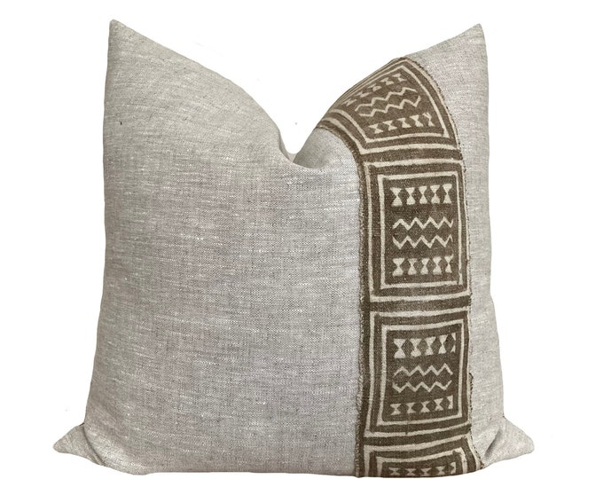 Authentic Mudcloth Pillow Cover, African Mud Cloth, Modderdoek, Bogolan Pillow, Green and grey linen