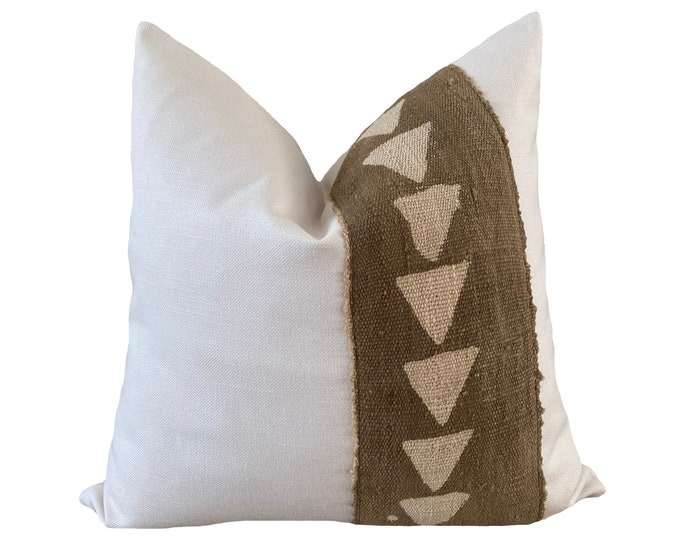 Authentic Mudcloth Pillow Cover, African Mud Cloth, Modderdoek, Bogolan Pillow, Green and White