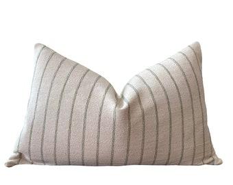 CHAKRI    Chiang Mai Cotton Pillow Cover   Handwoven ecru and sage green stripe   Origin: Thailand