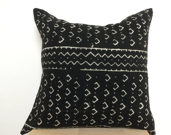 Vintage Black Mud Cloth Pillow, African Mud Cloth, Bogolan