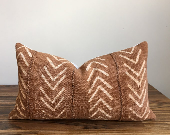 Brown Mudcloth Pillow Cover 12 X 20""