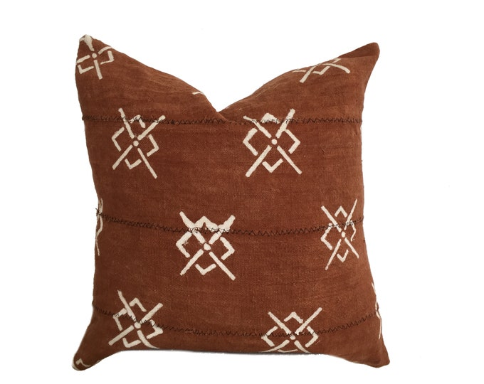 Mudcloth Pillow Cover, African Mud Cloth, Rust Brown and Cream