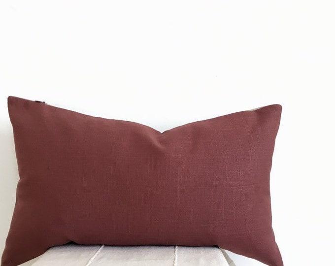 Linen Pillow Cover, Marsala Red