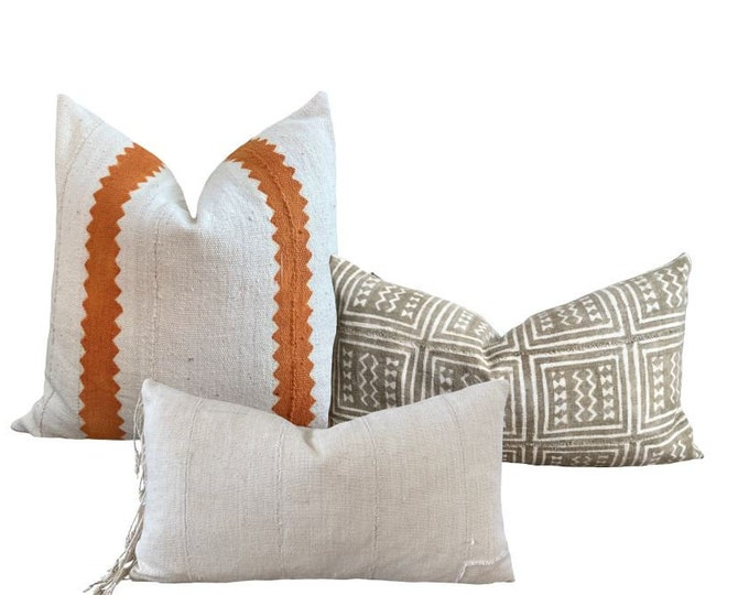 SET    Coordinated Mud Cloth Pillow Covers   Grey mud cloth, orange mudcloth, white mud cloth   Origin: Mali