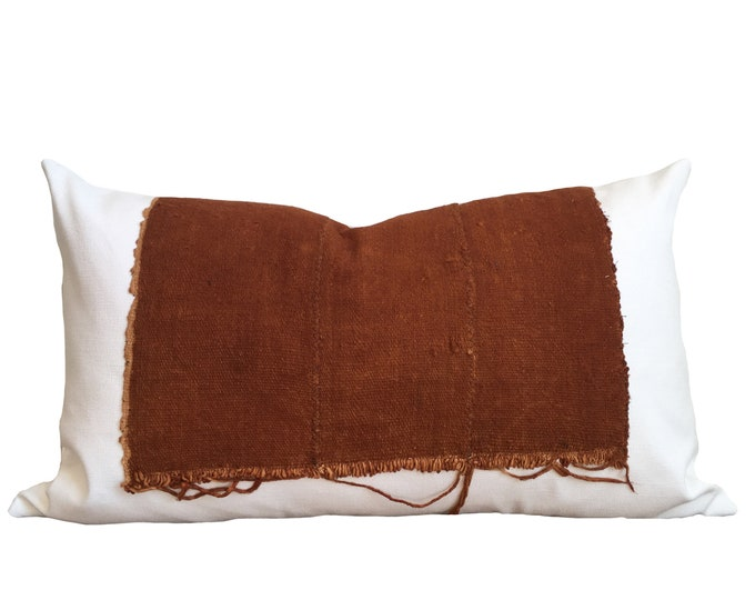 Rust Mudcloth Pillow Cover, Authentic Mud Cloth