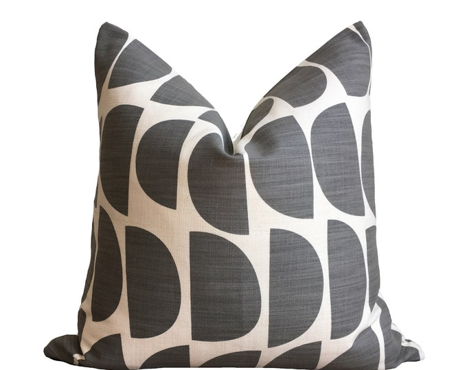 "18""x18"" Skinny laMinx Pillow Cover Gray Geometric"