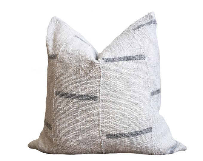 20x20 Authentic Mudcloth Pillow Cover, Gray Stripe