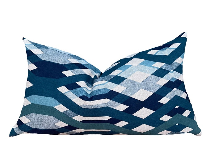 ONA || Modern Print Cotton Pillow Cover | Blue Geometric Motif