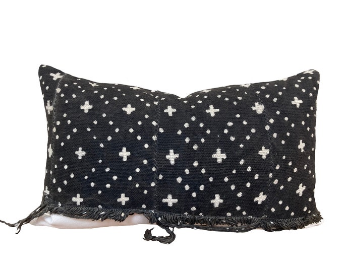 Mudcloth Pillow Cover, African Mud Cloth, Black and Cream