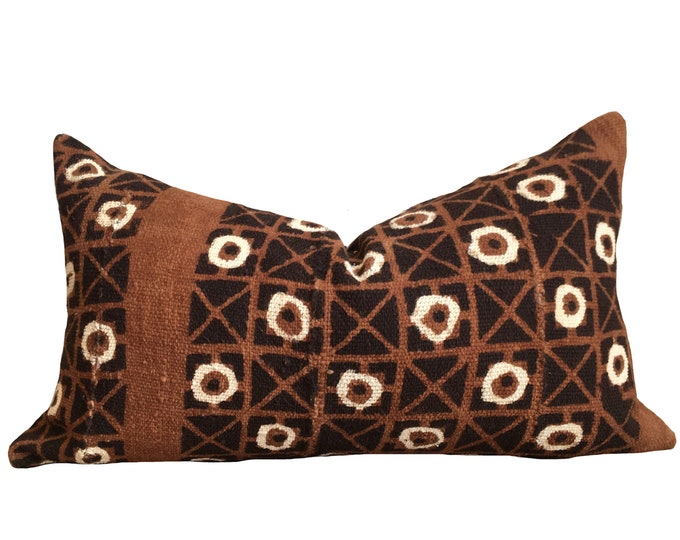 Mudcloth Pillow Cover, African Mud Cloth, Brown and Cream