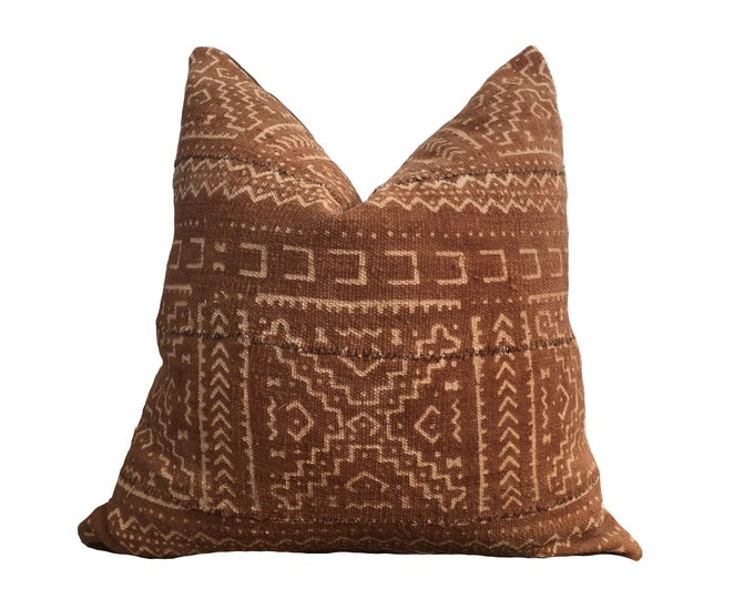 Mudcloth Pillow Cover, African Mud Cloth, Brown and Pink
