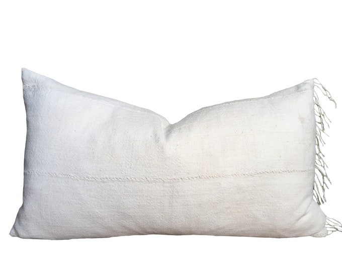 "12""x20"" Vintage White Mudcloth Pillow Cover with Fringe"