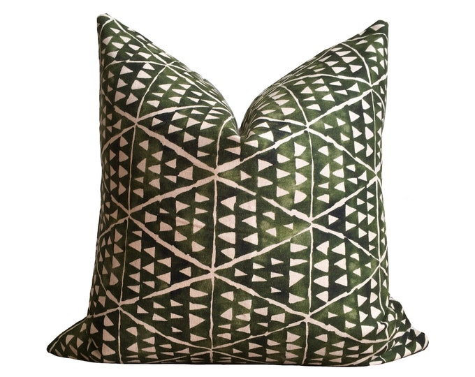Designer Green Linen Pillow