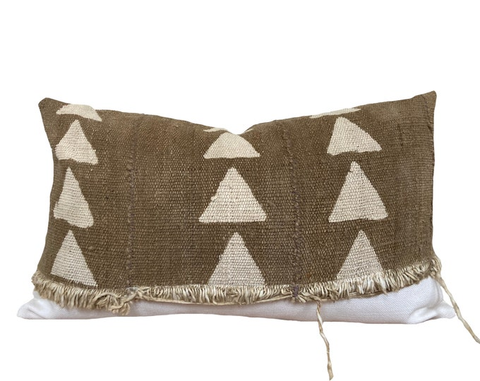 """12""""x20""""  Mudcloth Pillow Cover, African Mud Cloth, Green and Cream"""